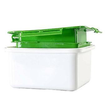 (White Green) Tofu Press Drain Box Water Moisture Remove Automatically Draining Easy To Useful