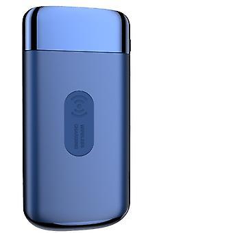 Power bank ekstern batteripakke 10000mAh ekstern trådløs lader lader bærbar strøm bank QI trådløs lader er egnet for iPhone, Samsung og andre mobiltelefoner,(blå)