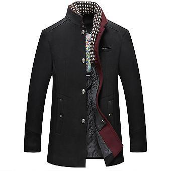 YANGFAN Mænds Single Breasted Wool Blend Coat Winter Stand Collar Outwear