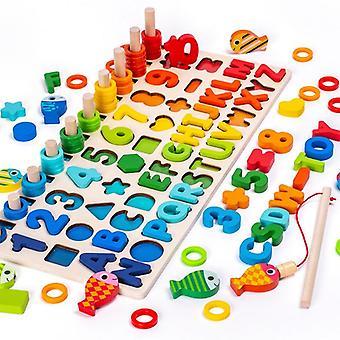 3D צעצועי עץ מגנטי דיג דיגיטלי צורה תואמת בלוקים צעצועים חינוכיים צעצועים