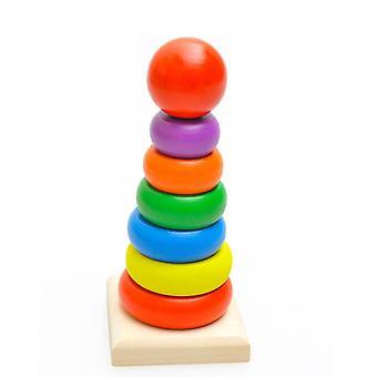 Drewniana tęczowa wieża pierścieniowa blokuje zabawki dla dzieci wczesnego uczenia się kolor i kształt pączka