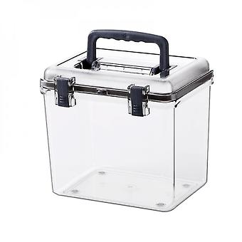 Clear Transparent Plastic Stackable Storage Box With Carry Handle
