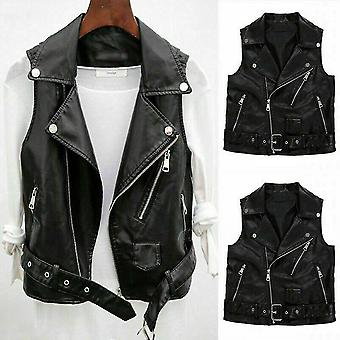Faux Leather Vest For Women Jacket Xmas Gift