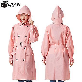 Qian-women's Raincoat Long Windbreaker Detachable Hood And Reusable Rain Poncho