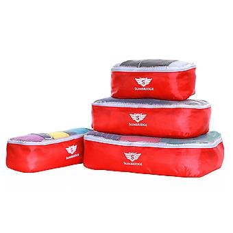 Slimbridge Milan Set of 4 Packing Cubes, Red