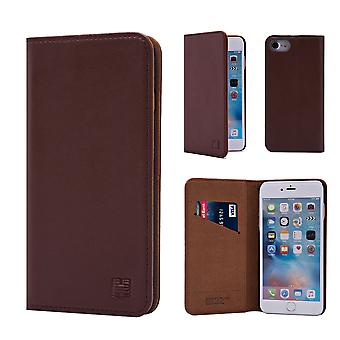 32 ° Real classic Leather Wallet per Apple iPhone 7 / iPhone 8 - marrone scuro
