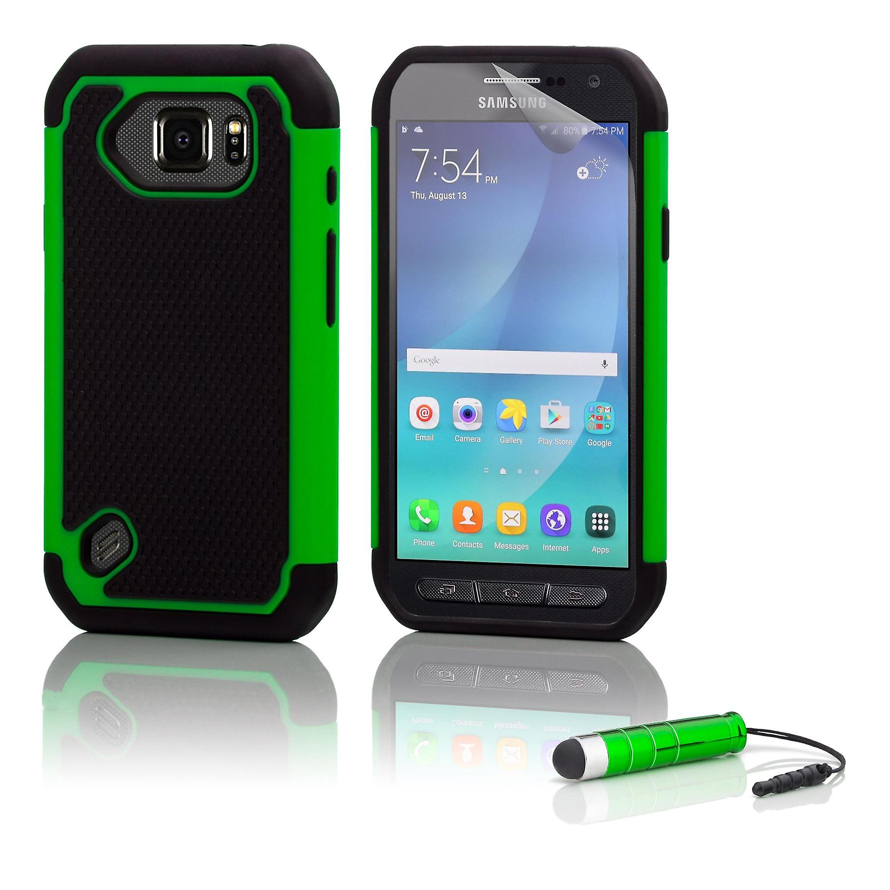 Shock proof case + stylus for Samsung Galaxy S6 Active (SM-G890) - Green