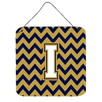 Letter I Chevron Navy Blue and Gold Wall or Door Hanging Prints