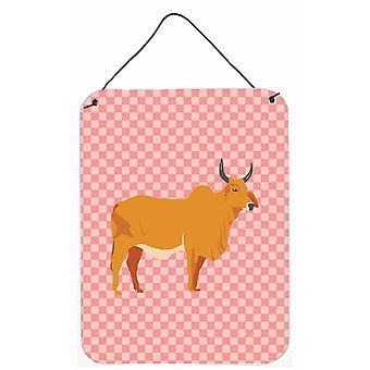 Zébu Indicine vache rose cocher mur ou une porte suspendue imprime