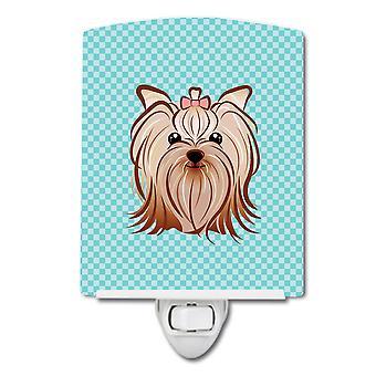 Checkerboard Blue Yorkie Yorkishire Terrier Ceramic Night Light