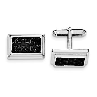 Sterling Silver Rhodium Plated Cuff Links with Black Carbon fiber