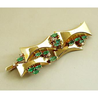 Gold brooch with diamonds and Emerald