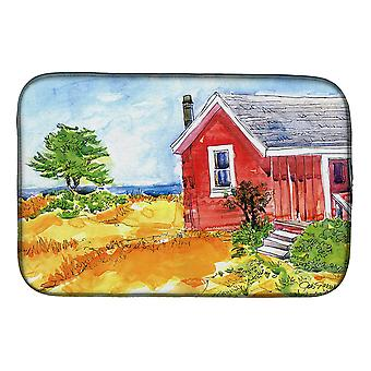 Old Red Cottage House at the lake or Beach Dish Drying Mat