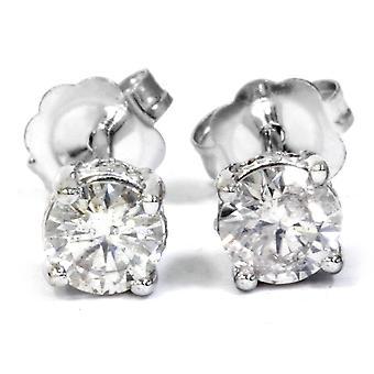 Pernos de 1 / 2ct diamantes estilo Vintage 14 K oro blanco