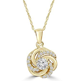 1/2CT Diamond Vintage Circle Braided Pendant 14K Yellow Gold