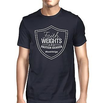 Glauben wiegt Mens Navy lustige Training Tee leichtes T-Shirt Geschenke