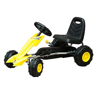 HOMCOM Children Pedal Go Kart Kids Ride On Bike Toy Scooter Manual Racing Rider Yellow