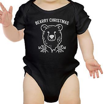 Bearry natale orso carino Natale Baby Bodysuit nero nuovo mamma regalo