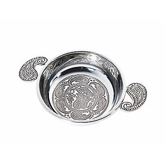 Large Embossed Paisley Pewter Quaich