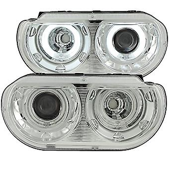 AnzoUSA 121307 Chrome Clear Dual Projector Halo Headlight for Dodge Challenger - (Sold in Pairs)