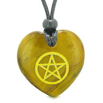Amulet magische Pentacle energie bescherming bevoegdheden gezwollen hart Tiger Eye hanger verstelbare ketting
