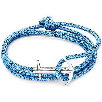 צמיד העוגן והצוות כסף וחבלים-כחול נואר