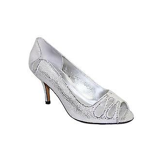 FLR237 Rene Peep Toe metalen Diamante Mesh Slip op Hof schoen hakken koppeling