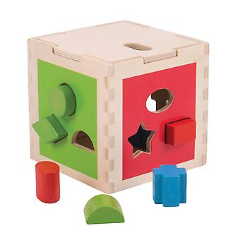 Bigjigs Toys Wooden Educational Shape Sorting Cube Activity Centre Toy