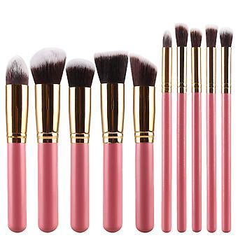 Make-up borstel set 10 stuks-roze en goud