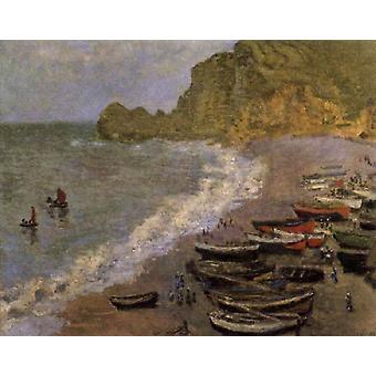 Het strand van Etretat, Claude Monet, 66x81cm