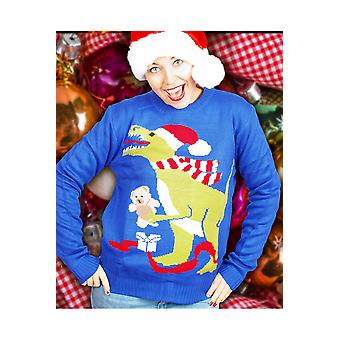 Hombres suéter de Navidad con dinosaurios de los trajes para hombres y mujeres