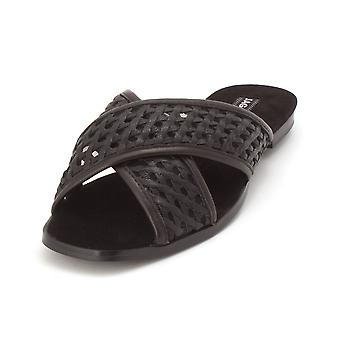 JAGGAR Womens Crossrd Flat Leather Open Toe Casual Slide Sandals