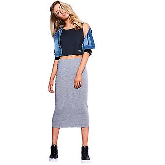 SHN Stretch Fit Midi Skirt In Grey Marl