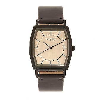 Simplify The 5400 Leather-Band Watch - Bronze/Dark Brown