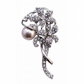 Simuleret Diamond mousserende blomster 10 mm hvide perler Vintage broche