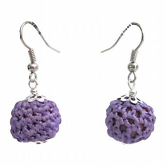 Mignons et peu coûteux Bijoux Crochet Boucles d'oreilles perles pourpre crochet