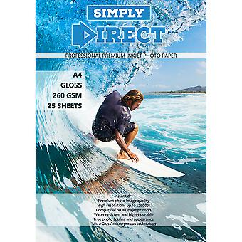 25 x Simply Direct A4 Resin Coated Gloss Inkjet Photo Printing Paper - 260gsm - Professional Premium Photographic Paper