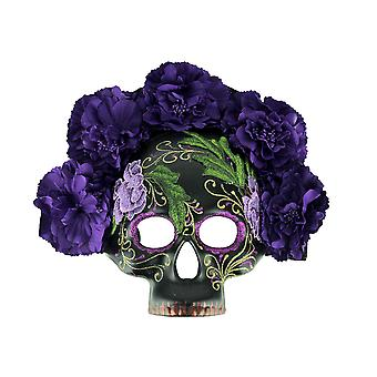 Day of the Dead Calavera Sugar Skull Costume Mask w/Floral Crown