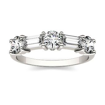 14K White Gold Moissanite by Charles & Colvard 5x2mm Straight Baguette Fashion Ring, 1.15cttw DEW