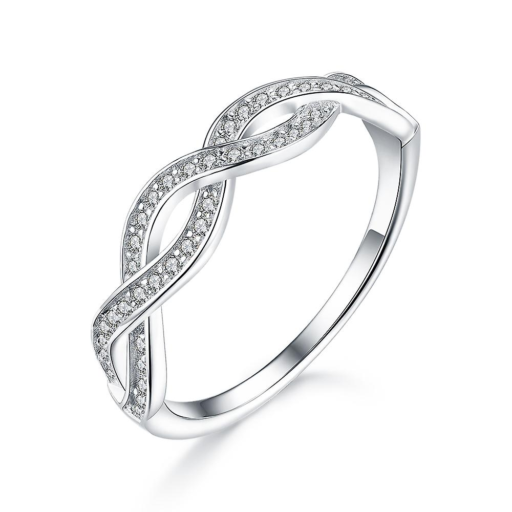 925 Sterling Silver Infinity Design Pave Accent Wedding Band Ring