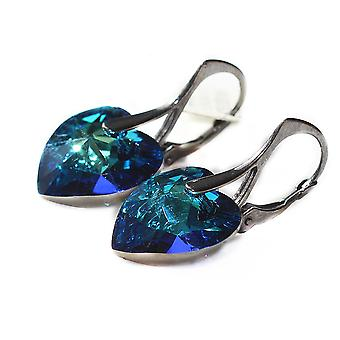 Women's Solid Sterling Silver With Rhodium Finish Earrings 14mm Bermuda Blue Heart Crystals