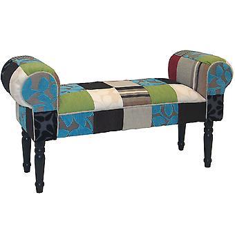 Přepychové patchwork-ošumělý elegantní Chaise Pouffe Stool/dřevěné nohy-modrá/zelená/červená
