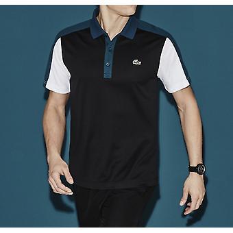 Lacoste Sport Ultra Dry Men's Polo Camisa Top Camiseta Genuina - Negro