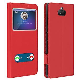 Doppel-Fenster-Fenster-Flimpen-Ständer-Gehäuse für Sony Xperia 10, TPU-Shell-Rot