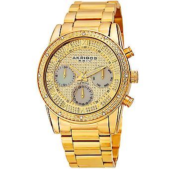 Akribos XXIV diamante degli uomini accentato madre di perla scintillante quadrante in acciaio inossidabile Bracciale orologio AK1040YG