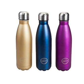 Summit B&Co Hamelin Reusable Metallic Bottle Stainless Steel Flask 500ml In 3