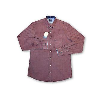 Olyp Casual odern fit shirt in red geoetric lattice pattern