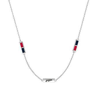 Cleveland Indians Sterling Silver Engraved Triple Station Necklace In Red and Blue