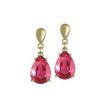 Wieczne kolekcji uwodzenia Teardrop głębokie Rose różowy Crystal Gold Tone Drop klipsy