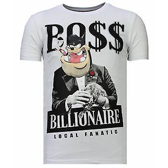 Billionaire Boss-Rhinestone T-shirt-White